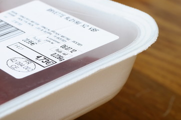 Food label with euro price and peremption date