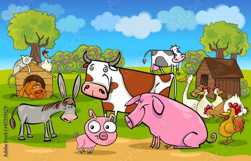 Foto op Canvas Boerderij cartoon rural scene with farm animals
