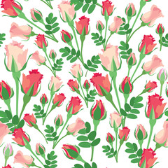 seamless pattern with pink, lilac and red roses on white