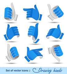 Сollection of drawing hands. Vector illustration