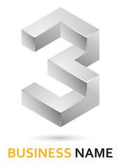Alphabet logo design - metallic number 3