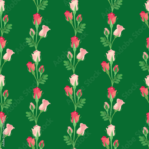 seamless pattern with flowes rose on green background