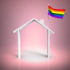 Casa Con Bandera Gay