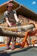 Forstarbeiter schneidet an Spannungssimulator