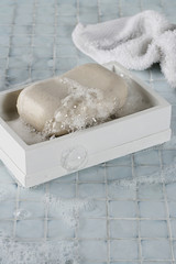 Soapy bar of soap in box