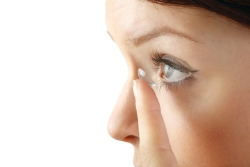 woman with contact lense (white background)