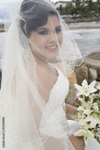 Hispanic bride in wedding dress