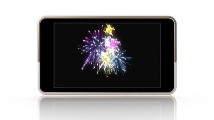Smartphone showing a video of fireworks.