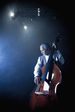 Musician playing double bass on stage