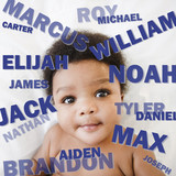 African American baby boy surrounded by boy's names