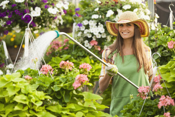 Caucasian woman watering plants