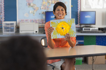 Teacher showing drawing of sun to class