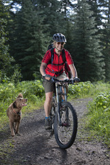 Woman riding mountain bike on wooded path with dog