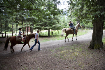 People riding horses on wood path together