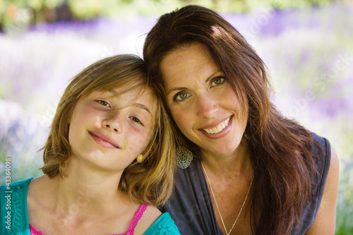 Mother and Daughter in Lavender Field