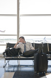 Caucasian businessman waiting in airport