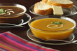Squash soup selection served with bread and butter