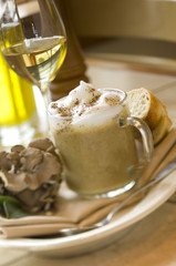 Flavored coffee drink with chocolate brownie, bread and dessert wine