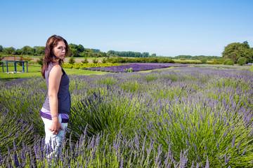 Beautiful Woman in a field of purple lavender