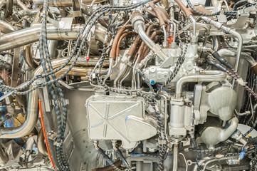 complex passenger jet engine detail