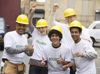 Volunteers cheering together