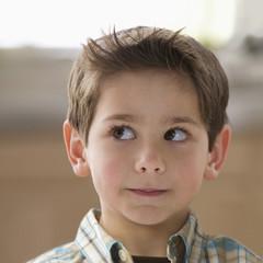Curious Caucasian boy