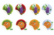 Set-of-vector-stickers-with-eggplant-and-orange