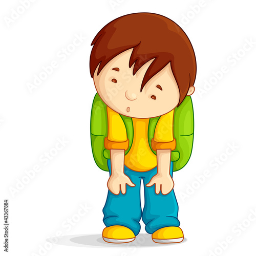 Editable vector illustration of a boy with school bag depressed