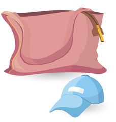 Pink bag and blue hat