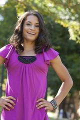 Smiling mixed race teenage girl