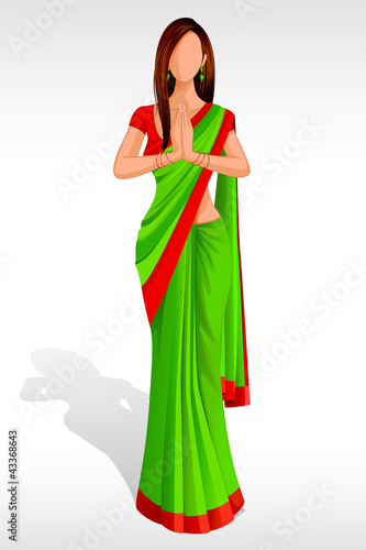 Editable vector illustration of Indian Lady greeting