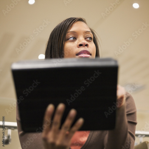 African American businesswoman using digital tablet