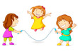 Editable vector illustration of girls doing skipping