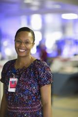 African American nurse standing in hospital