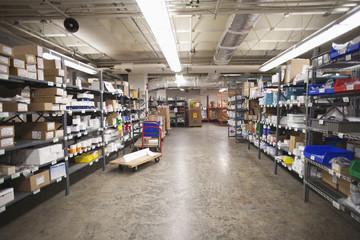 Supplies organized on shelves