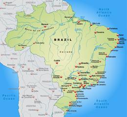 Umgebungskarte von Brasilien in grün
