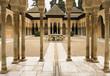 Pillared portico surrounding courtyard