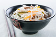 rice noodles with vegetables, mushrooms and meat