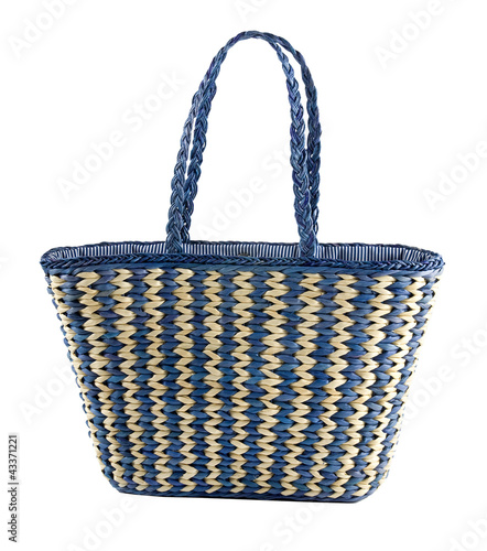 Blue striped basket tote