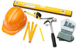Hard hat, pencil, line, hammer, nails,and level, isolated