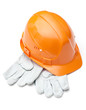 Orange hard hat on white gloves, isolated on white