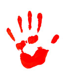 Red imprint of hand, isolated on white poster