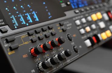 Professional video recorder. Control panel.