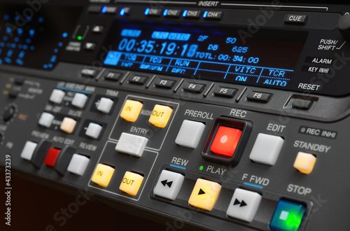 Professional video recorder. Control panel. Poster