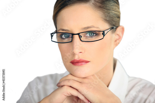 Portrait of a woman wearing glasses