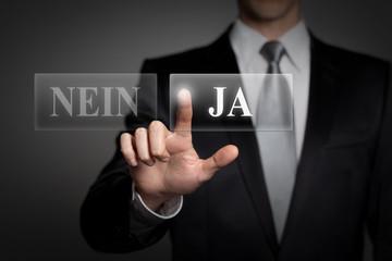 Geschäftsmann trifft Entscheidung - JA oder nein