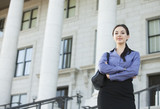 Caucasian businesswoman standing outdoors