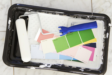 Paint roller, tray and color swatches
