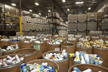 Warehouse with bins full of inventory
