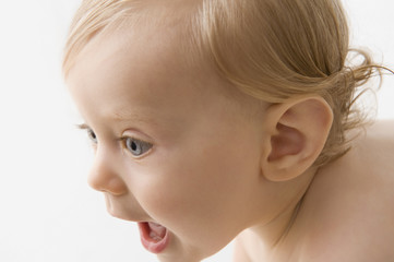 Curious Caucasian baby boy